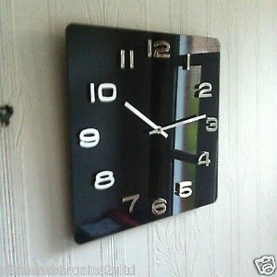 VINTAGE RETRO GLOSSY GLASS RAISED NUMBR SQUARE OFFICE WALL CLOCK BLACk