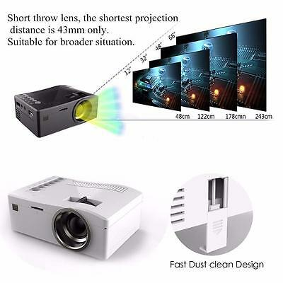 Color 3D Mini LED LCD Projector HD 1080P Home Theater HDMI USB VGA AV Cinema GL