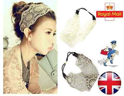 New Women Girls Lace Headband Retro Hair Band Wide Head wraps Hair Accessories ​