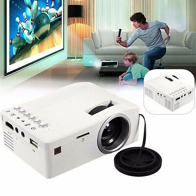 Mini LED LCD Projector HD 1080P Home Theater HDMI USB VGA AV Cinema White EU GL