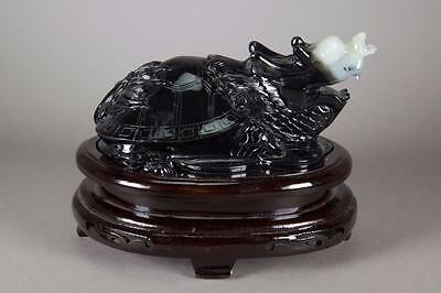 Chinese Hardstone Carved Turtle Figure with Stand