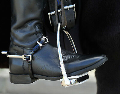 NEW GLAMOUR PATENT Dressage Black Leather Spur straps WITH CRYSTALS 48 cm