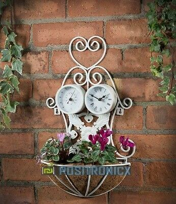 Shabby Chic 3 in 1 Planter with Thermometer and Clock for Outdoor or Garden