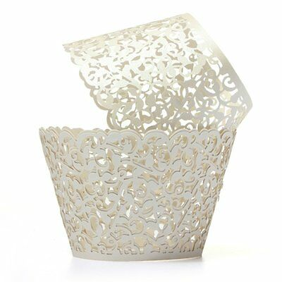 12X Filigree Vine Cake Cupcake Wrappers Wraps Cases Ivory White  BF