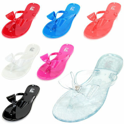 9724a9c0da4a23 Kids Girls Jelly Flip Flops Bow Ribbon Thong Flat Summer Beach Sandals Shoes