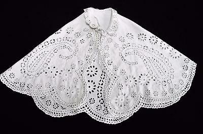 ANTIQUE VICTORIAN EMBROIDERED WHITEWORK BABY'S CHRISTENING CAPE c1880