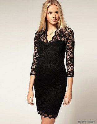 EroticSexy and very transparent Lace Dress Women's V-neck 3/4  Dress.