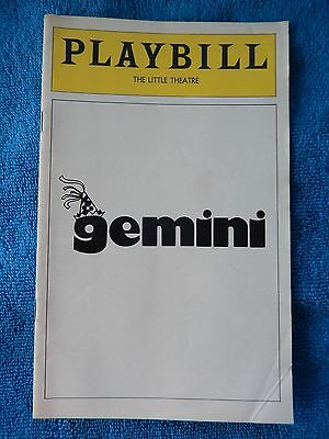 Gemini - Little Theatre Playbill - August 1977 - Danny Aiello - Reed Birney