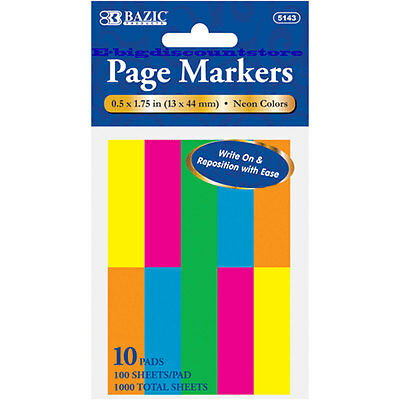 "1000 Sheets NEON Color Page Markers Sticky Notes Bookmark, 10 Pads 0.5"" X 1.75"""