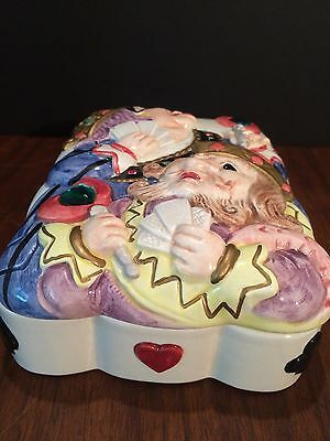 Collectible Fitz & Floyd Queen King Of Hearts Playing Card Holder Dish Box