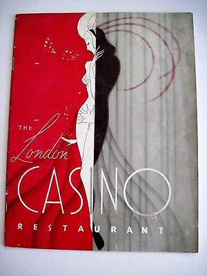 "1937 ""The London Casino Restaurant"" Prog w/Art Deco Style Cover in Red & Silver*"