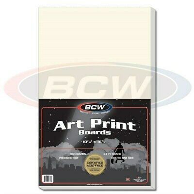 Pack of 100 BCW 11 x 17 Acid Free Art Print Backing Boards 11x17 white backer