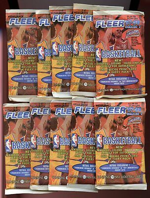 (10) 1997-98 Fleer Series 1 NBA Basketball Retail Pack Lot Duncan Rookie Year