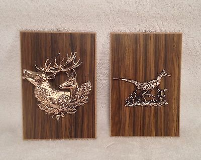 Vintage Elk & Road Runner Faux Wood Grain Wall Plaques for the Man Cave!