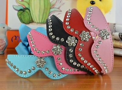 Diamante Bow Tie Style Collar Pet Dog Cat Collar Rhinestone Bling PU Leather