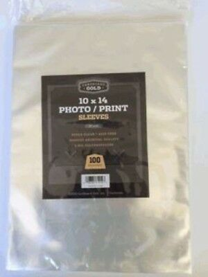 Pack of 100 Cardboard Gold 10x14 Crystal Clear Soft Poly Photo/Print Sleeves