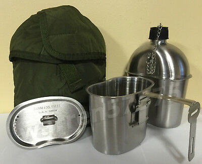 G.I. Style Stainless Steel 1qt. Canteen with Folding Handle Cup and Vented LID.