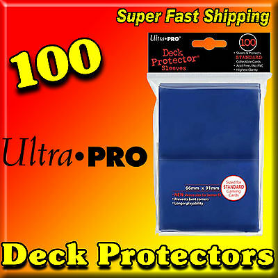 100 ULTRA PRO 100ct BLUE STANDARD SIZE SLEEVES CARD DECK PROTECTORS 82691-100