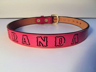 Children's Pink Leather Belt Personalized with a Name, Phrase, Team,School, Etc.