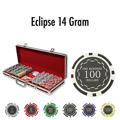 NEW 500 PC Eclipse 14 Gram Clay Poker Chips Set With Black Red Aluminum Case