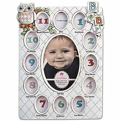 Baby's First Year Collage Picture Frame Holds 13 Photos From Birth - Age 1, New,
