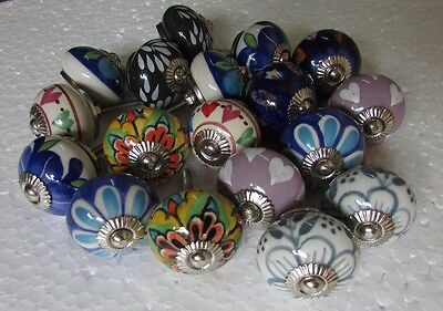 Lot of 18 Vintage style Multi Color CERAMIC Knobs Drawer / Door Handle Pulls