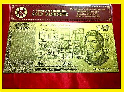 Australian $10 Dollar Bank Note Banknote Coombs And Randell 24Kt Gold Coa