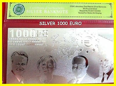1000 Euro Silver Banknote Rare Collectable Bank Note + Free Coa