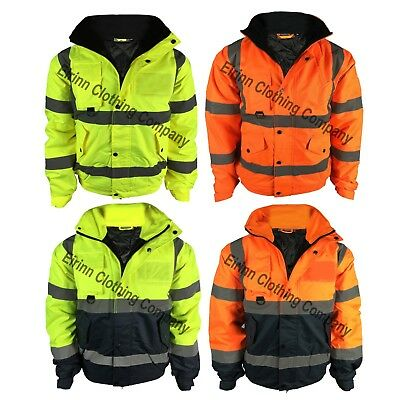 New Premium Work Hi Vis Visibility Two Tone Bomber Jacket Waterproof Safety Coat