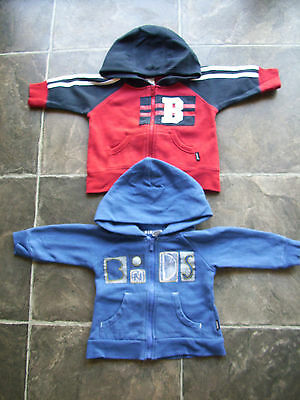 Baby Boy's Bonds Red & Blue Hoodie/Hooded Jacket/Coat x 2 Size 00 VGUC
