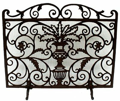 NACH Iron Fireplace Screen with Legs, Planter Design, New, Free Shipping