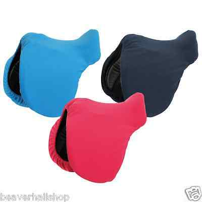Shires Fleece Saddle Cover Protector Stretch - One Size - Navy Pink Blue (9421)