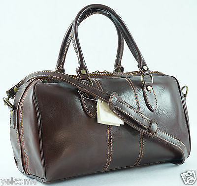 Genuine Italian Leather Duffle Gym Weekend Travel Overnight Bag Holdall Small 15