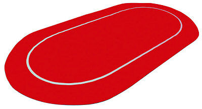 """New Red Sure Stick 70"""" x 35"""" Oval Rubber Foam Poker Rollout Table Top Felt"""