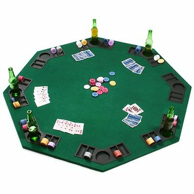 "NEW Green Octagon Folding 2 in 1 Poker Blackjack 48"" Table Top Reversible"