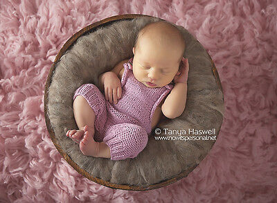Hand Knitted Baby Pink Cotton Poser Romper Photography/Photo Prop Newborn Girl