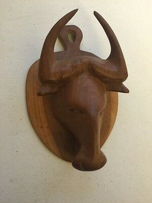 Vintage Carved Wood Wall Hanging Water Buffalo