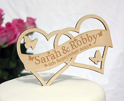 Personalised Heart Wedding Cake Topper with Name and Date available in 3 Woods