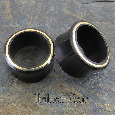 Tribal Ear Plug Horn Brass Line (1pc) Tunnel Organic Carved Gauges Tunnels Plugs