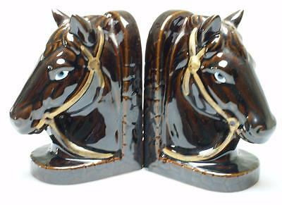 Pair of Horse Head China Bookends Made in Japan KC143