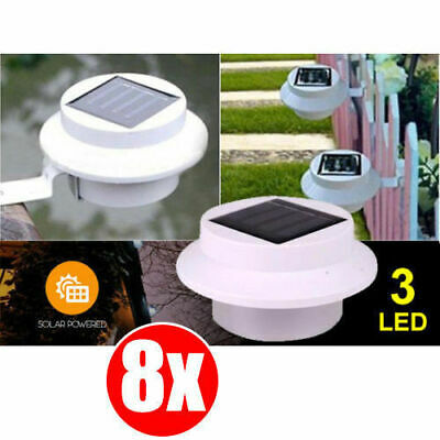 8X LED Solar Clip-on Fence Gutter Outdoor Garden Yard Pathway Lamp Light WHITE