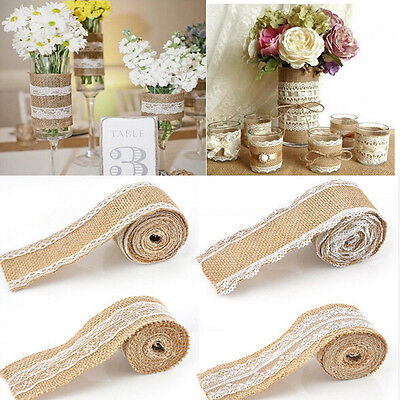 2M Vintage Lace Edged Hessian Burlap Ribbon Roll for Rustic Wedding Party Decor