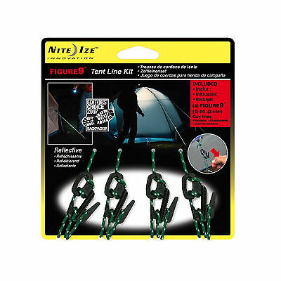 Nite Ize Figure 9 Tent Line Kit 4-Pack Reflective Rope Guy Lines w/Tighteners
