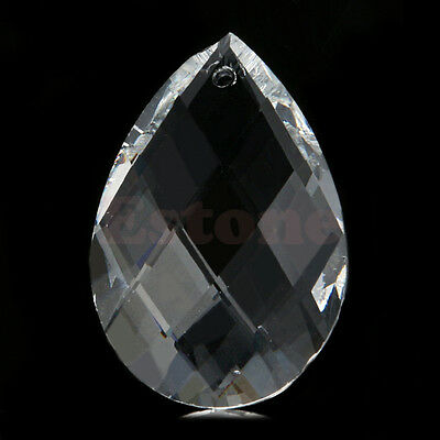 10x Clear Chandelier Glass Crystals Lamp Prisms Parts Hanging Drop Pendants 38mm