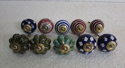 Lot of 10 Vintage style Multi Color CERAMIC Knobs Drawer / Door Handle Pulls