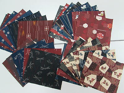 ASIAN JAPANESE ORIENTAL QUILT FABRIC PRE-CUT 30 pieces (9.5 X 9.8) DIY # 9