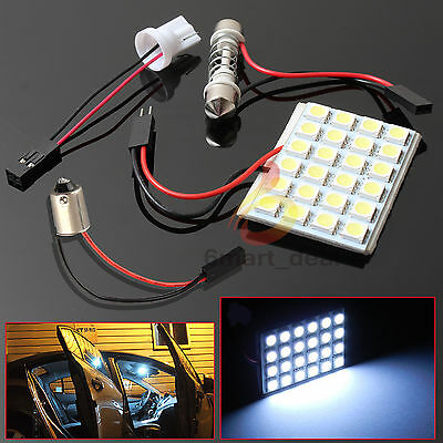 2x White 24 LED 5050 SMD 12V Car Interior Light Panel Bulb T10 Dome BA9S Adapter