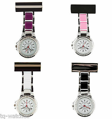Diamante Bezel Nurse Pin on FOB Watch Tunic Brooch  Analog Quartz + FREE Battery