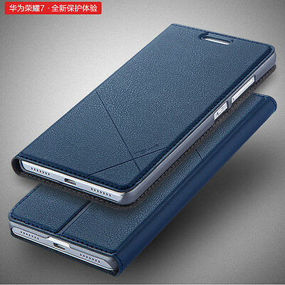 Unique Smart Flip Leather Wallet Card Stand Cover Skin Case For Huawei Honor 7