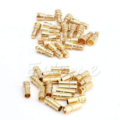 40pcs 20 Pairs 3.5mm Gold-plated Metal Bullet Banana Plug Connector RC Battery